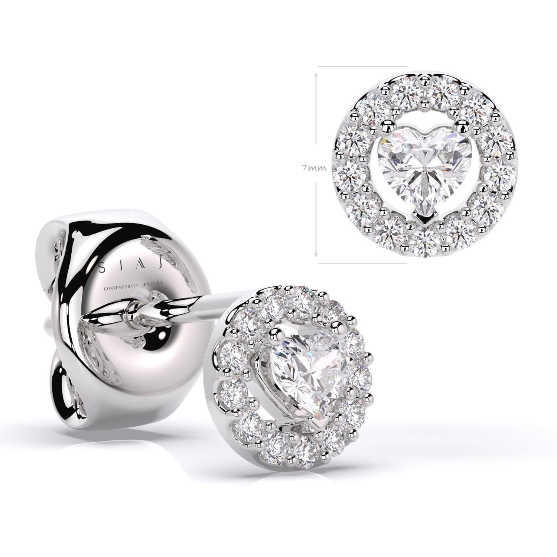 Cercei aur cu diamante lab grown hearspahed SP1 2A