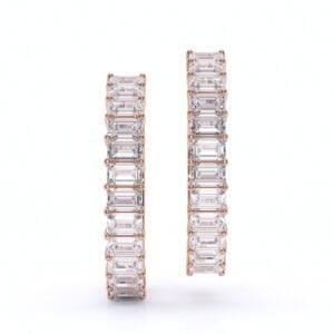 Cercei din aur cu diamante bagheta diamante sintetice lagrown aur roz 1