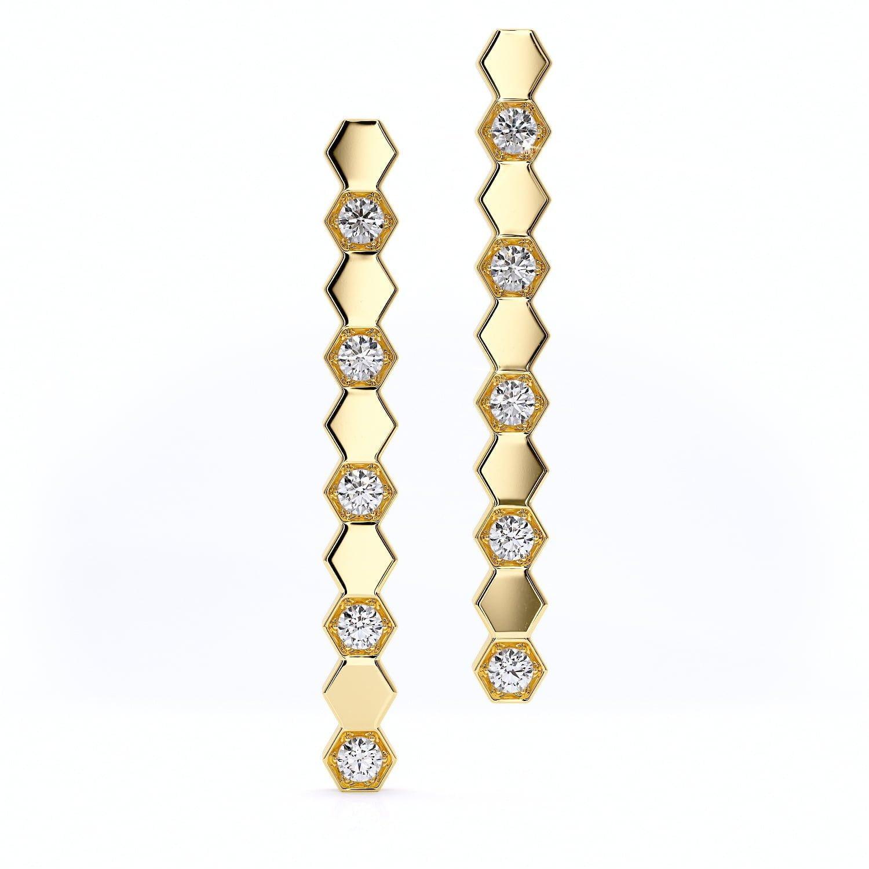 Cercei din aur cu diamante sintetice labgrown aur galben
