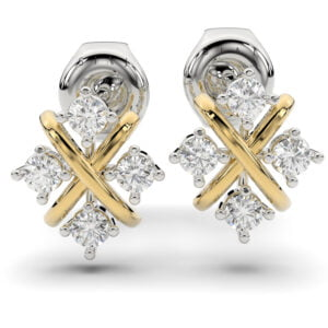 Cercei din aur de 18K cu diamante lab grown SIAJ Xm1 aur alb cu aur galben