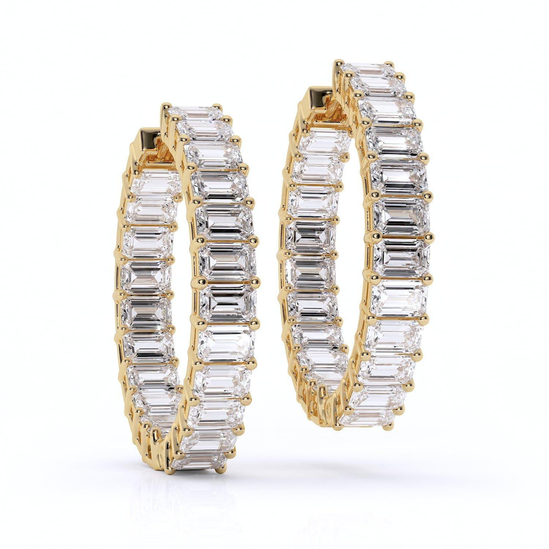 Cercei eternity cu diamante bagheta diamante sintetice labgrown aur galben