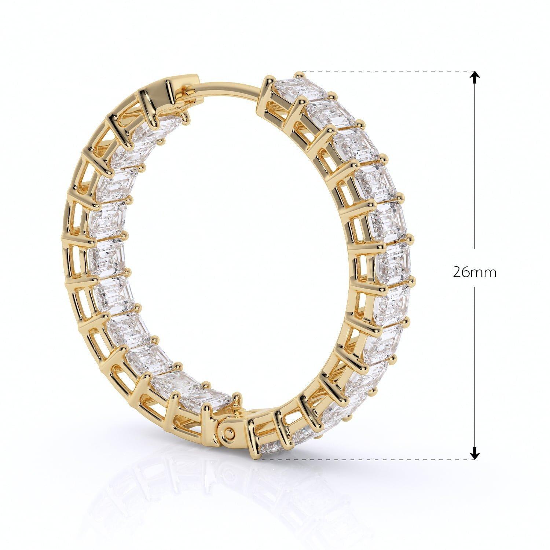 Cercei eternity cu diamante bagheta diamante sintetice labgrown aur galben2
