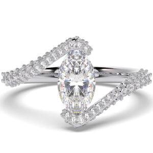 Inel din aur 18Kt cu diamante lab grown SIAJ MQalb 2