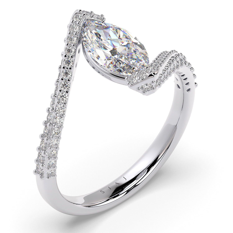Inel din aur 18Kt cu diamante lab grown SIAJ MQalb 3