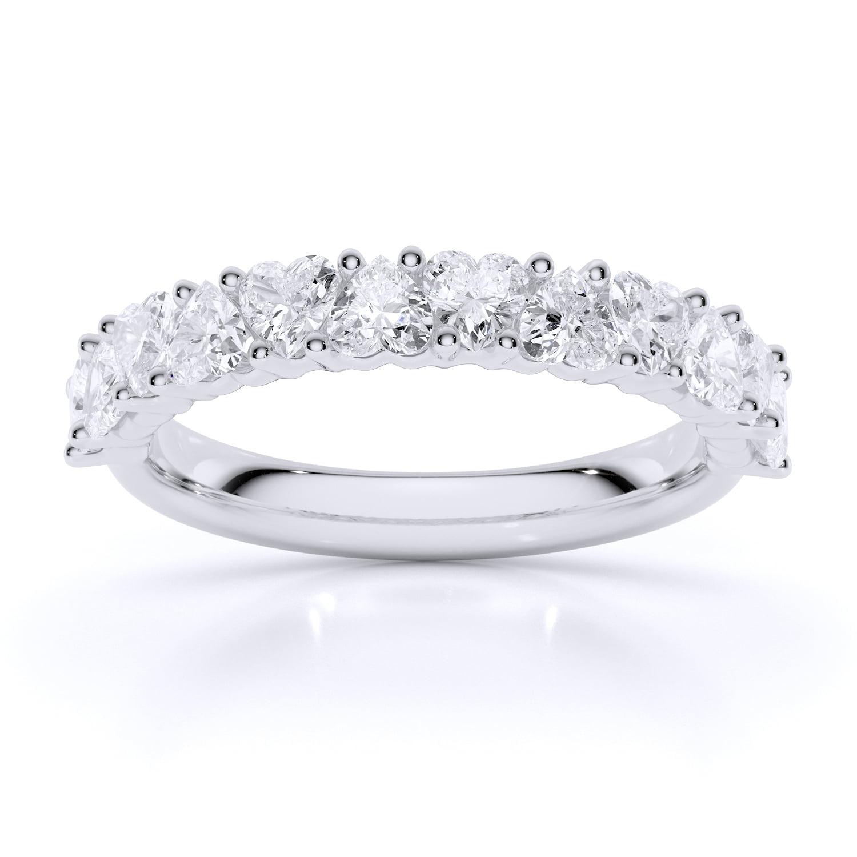 Inel din aur cu diamante inima heartshaped diamante sintetice labgrown aur alb