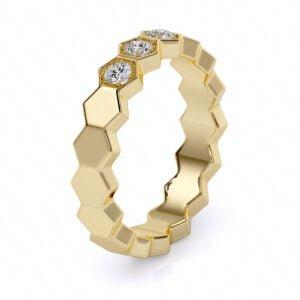 Inel din aur cu diamante sintetice labgrown aur galben