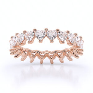 Inel din aur cu diamante sintetice labgrown heart shaped inima roz1