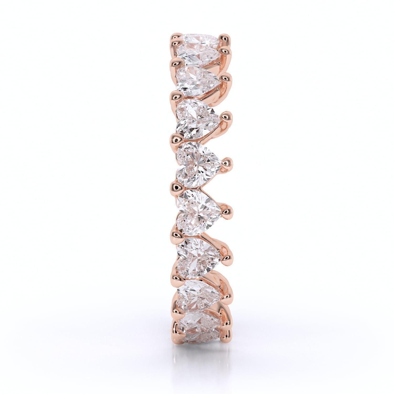 Inel din aur cu diamante sintetice labgrown heart shaped inima roz2
