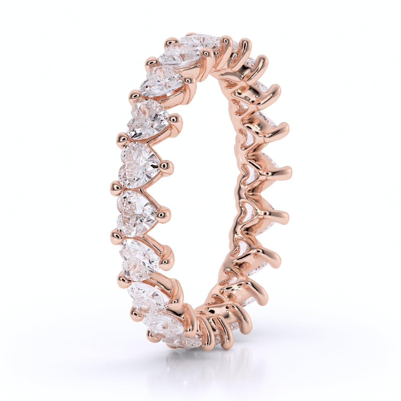 Inel din aur cu diamante sintetice labgrown heart shaped inima roz3