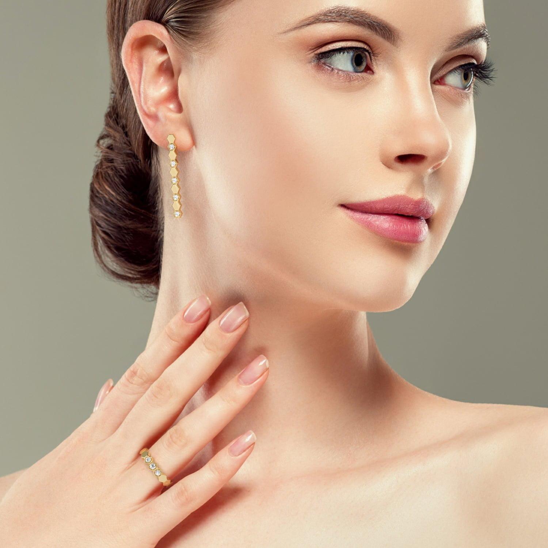 Inel si cercei din aur cu diamante sintetice labgrown aur galben