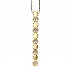 Pandantiv din aur cu diamante sintetice labgrown aur galben refacu