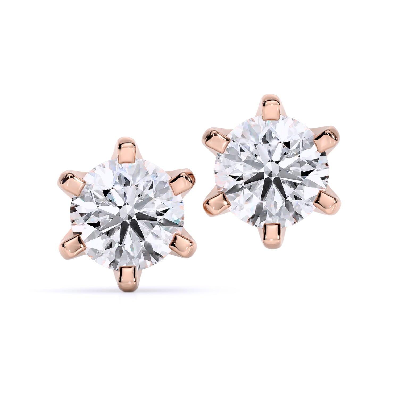 cercei din aur roz cu diamante cvd Ilona