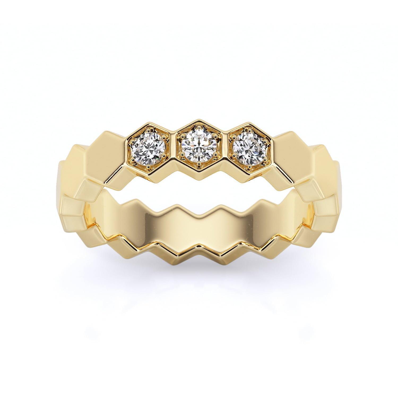 inel din aur cu diamante sintetice labgrown aur galben 1